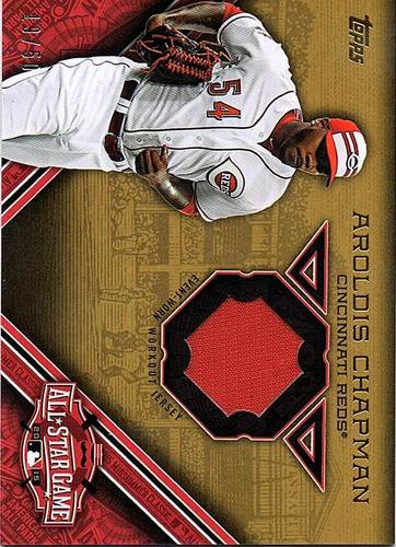 Photo of 2015 Topps Update All Star Stitches Gold #STITAC Aroldis Chapman