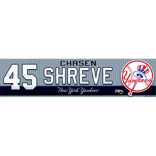 Photo of Chasen Shreve New York Yankees 2016 Game-Used #45 Locker Room Nameplate (6/30/2016)