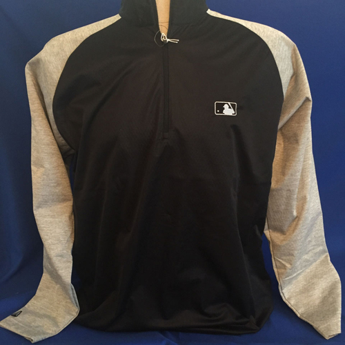 Photo of UMPS CARE AUCTION: MLB/UMPS CARE Logo Antigua Paragon Quarter-Zip Water-Resistant Pullover, Black with Gray Sleeves, Size L
