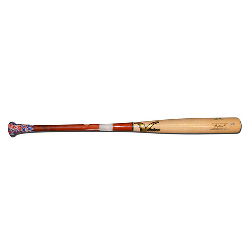 Photo of Yoenis Cespedes - Game Used Cracked Bat - Victus - Beige/Maroon - Mets vs. Phillies - 9/30/16