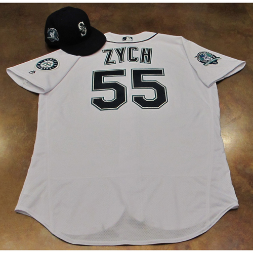 Photo of Tony Zych White Home Game-Used Jersey & Cap With Edgar Martinez Patch Worn 8-12-2017