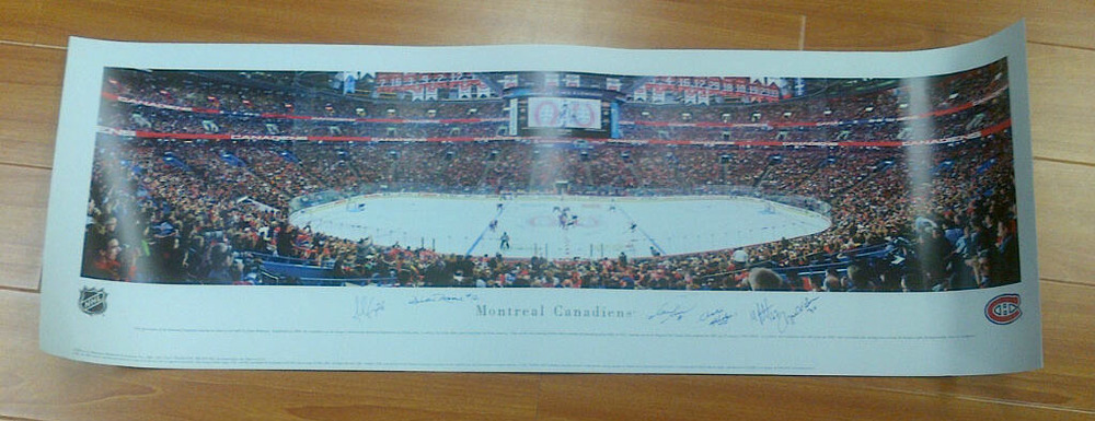 Montreal Canadiens 14X30 Bell Centre MULTI-SIGNED Photo *6 SIGNATURES**PACIORETTY-GEORGES-RECCHI-ETC*