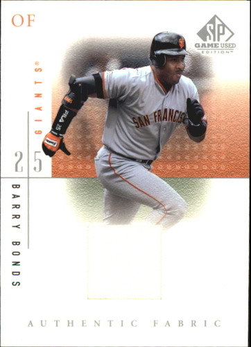 Photo of 2001 SP Game Used Edition Authentic Fabric Barry Bonds -- game worn jerset
