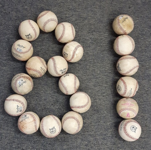Photo of 40th Anniversary Authenticated Game Used Baseballs - 81 baseballs (1 baseball for each home game)