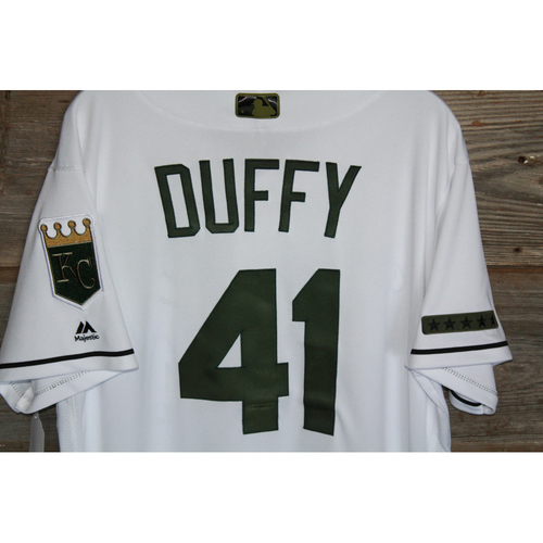 Photo of Game-Used Danny Duffy Memorial Day Jersey (Size 46) (5/29/17 DET @KC)