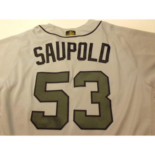 Photo of Game-Used Warwick Saupold Memorial Day Jersey
