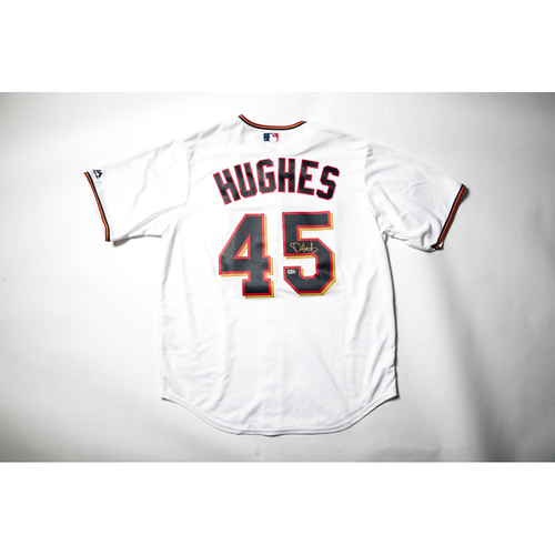 Photo of Home White Autographed Replica Jersey - Phil Hughes Size L