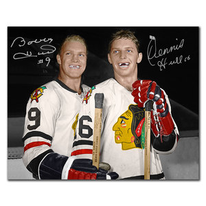 Bobby Hull & Dennis Hull Brothers Chicago Blackhawks Dual Autographed 8x10