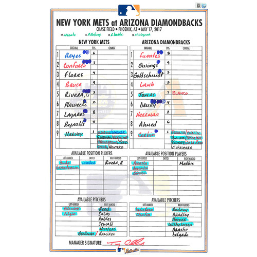 Photo of Game Used Lineup Card - Harvey Start; Conforto Hits HR - Mets vs. Diamondbacks - 5/17/17