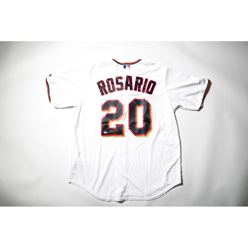 Photo of Home White Autographed Replica Jersey - Eddie Rosario Size L