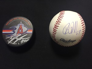 Anaheim Ducks #67 Rickard Rakell autographed baseball and Angels #45 Tyler Skaggs autographed commemorative Angels Night puck set and opportunity for four (4) to watch batting practice before a 2016 Angels baseball game