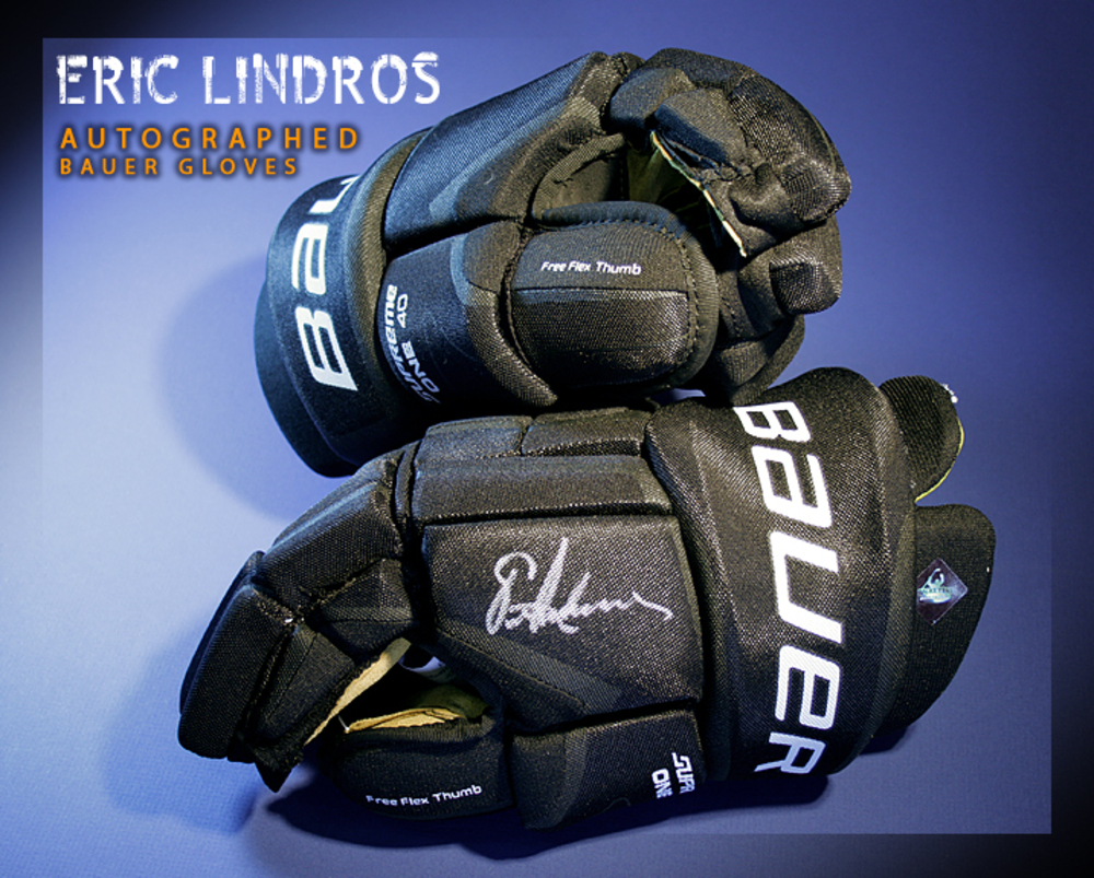 ERIC LINDROS Signed Philadelphia Flyers Player Brand Bauer Gloves