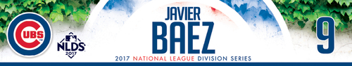 Photo of Javier Baez Game-Used Locker Nameplate -- NLDS Game 3 -- Nationals vs. Cubs -- 10/9/17