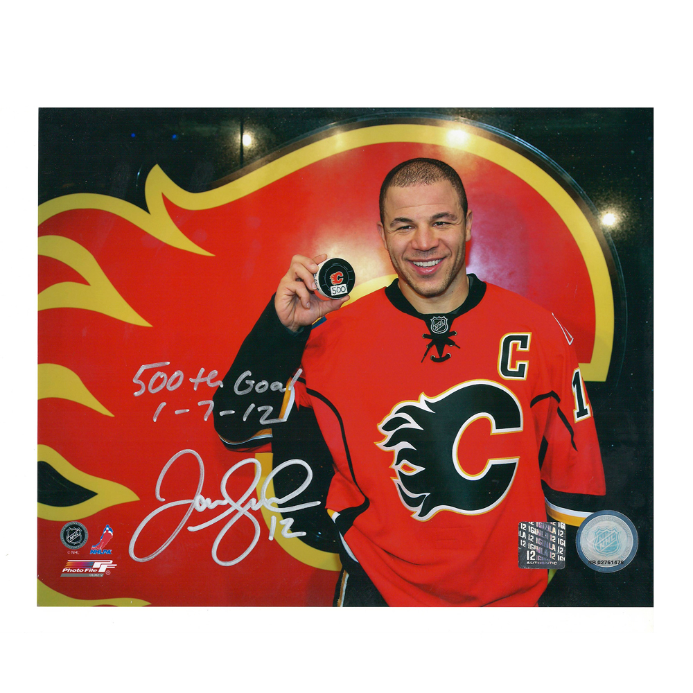 JAROME IGINLA Signed and Inscribed Calagry Flames 500th Goal 8 X 10 Photo - 70506