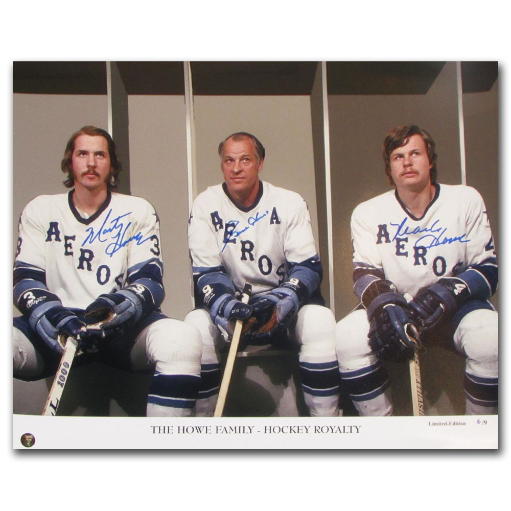 Gordie, Mark & Marty Howe Autographed Houston Aeros Limited-Edition 16X20 Photo - #6/9