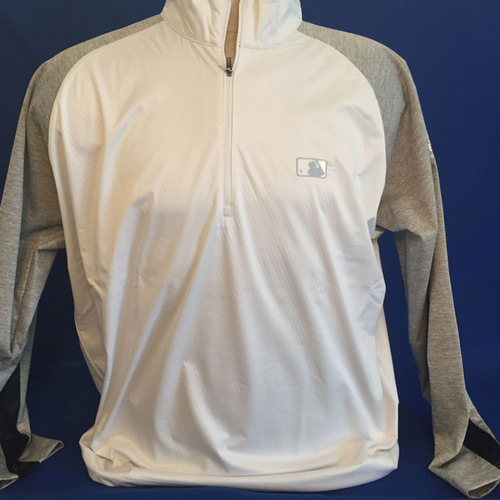 Photo of UMPS CARE AUCTION: MLB/UMPS CARE Logo Antigua Paragon Quarter-Zip Water-Resistant Pullover, White with Gray Sleeves, Size 2XL