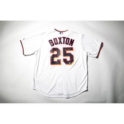 Photo of Home White Autographed Replica Jersey - Byron Buxton Size L