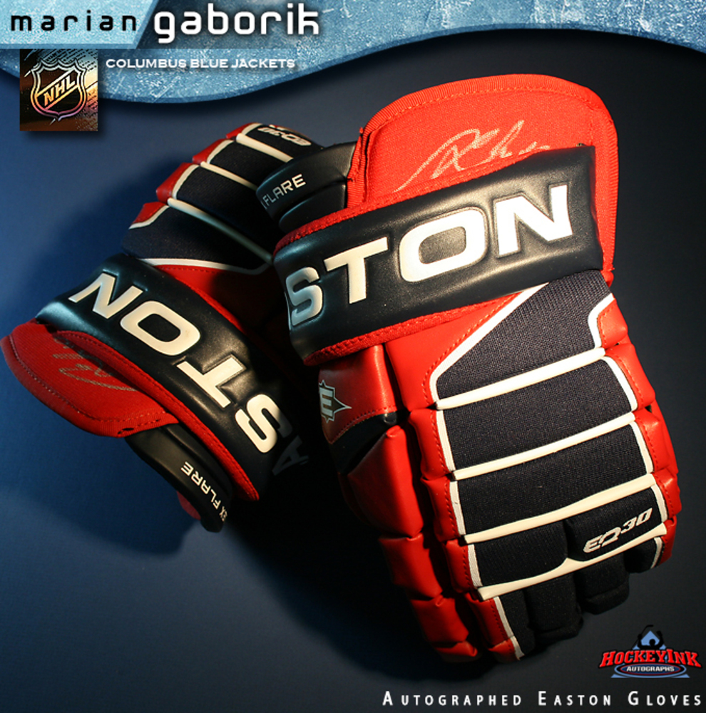 MARIAN GABORIK Signed Columbus Blue Jackets Player Model Easton Gloves