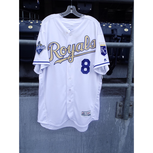 Photo of Mike Moustakas Game-Used Ring Ceremony Jersey 4/5/16