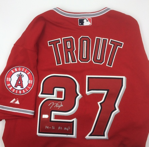 """Photo of Mike Trout Autographed """"14-16 AL MVP"""" Authentic Red Angels Jersey"""