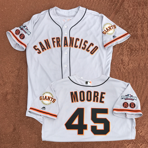 Photo of San Francisco Giants - Game-Used - 2016 Postseason Road Jersey - Matt Moore #45 - (size 48)