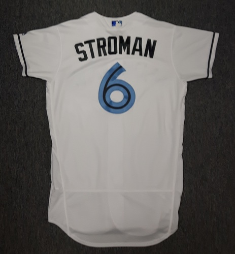 Photo of Authenticated Game Used Father's Day Jersey - #6 Marcus Stroman (June 18, 2017). Stroman wore on June 17th as well, when he went 7 IP with 3 ER and 5 Ks