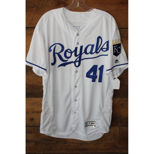 Photo of Game-Used Jersey: Danny Duffy 44th Career Win, 650th-656th Career Strikeouts (Size 46 - COL at KC - 8/22/17)