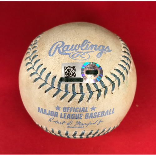 Photo of Bronson Arroyo -- Game-Used Father's Day Baseball-From Arroyo's Final Major League Game of 16-Year Career -- Billy Hamilton (Double) -- Reds vs. Dodgers on June 18, 2017