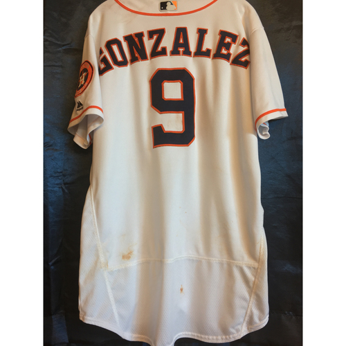 Photo of Game-Used Marwin Gonzalez Home Jersey
