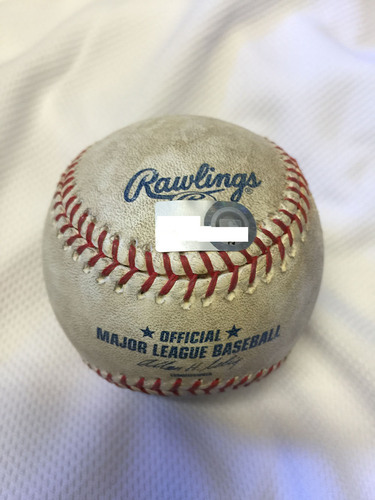 Photo of Game-Used Baseball from Manny Machado's 1st Career Home Run Game - August 10, 2012 at Oriole Park at Camden Yards