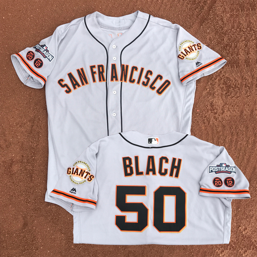 Photo of San Francisco Giants - Game-Used - 2016 Postseason Road Jersey - Ty Blach #50 - (size 46)