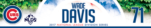 Photo of Wade Davis Game-Used Locker Nameplate -- NLDS Game 3 -- Nationals vs. Cubs -- 10/9/17