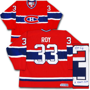 Patrick Roy Autographed Montreal Canadiens Jersey w/2 STANLEY CUPS Inscription
