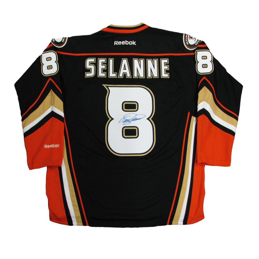 TEEMU SELANNE Signed Anaheim Ducks Black Reebok Jersey