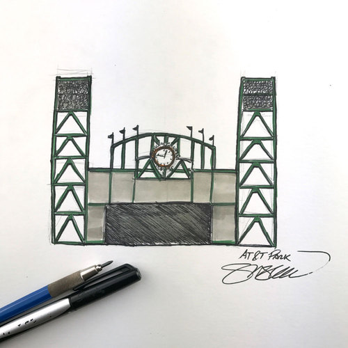 Photo of Daily Sketch - 30 Ballparks in 30 Days: AT&T Park Original Inked Illustration by S. Preston