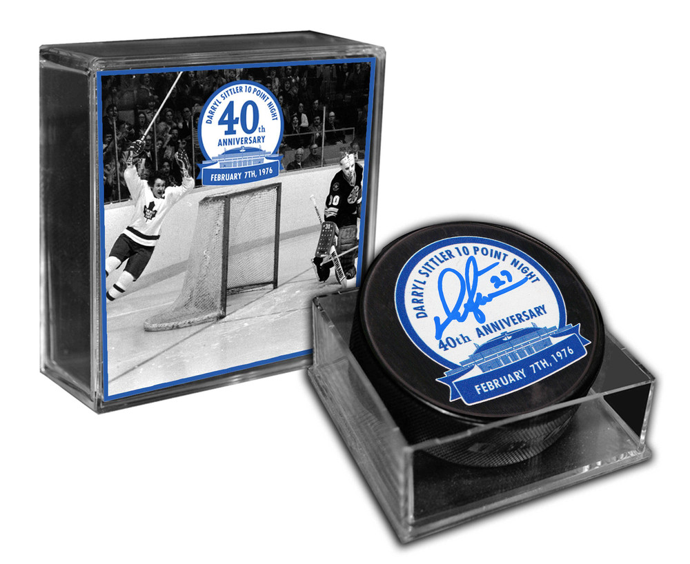 Darryl Sittler - Signed 10-Point Night 40th Anniversary Logo Puck - Limited Edition /127