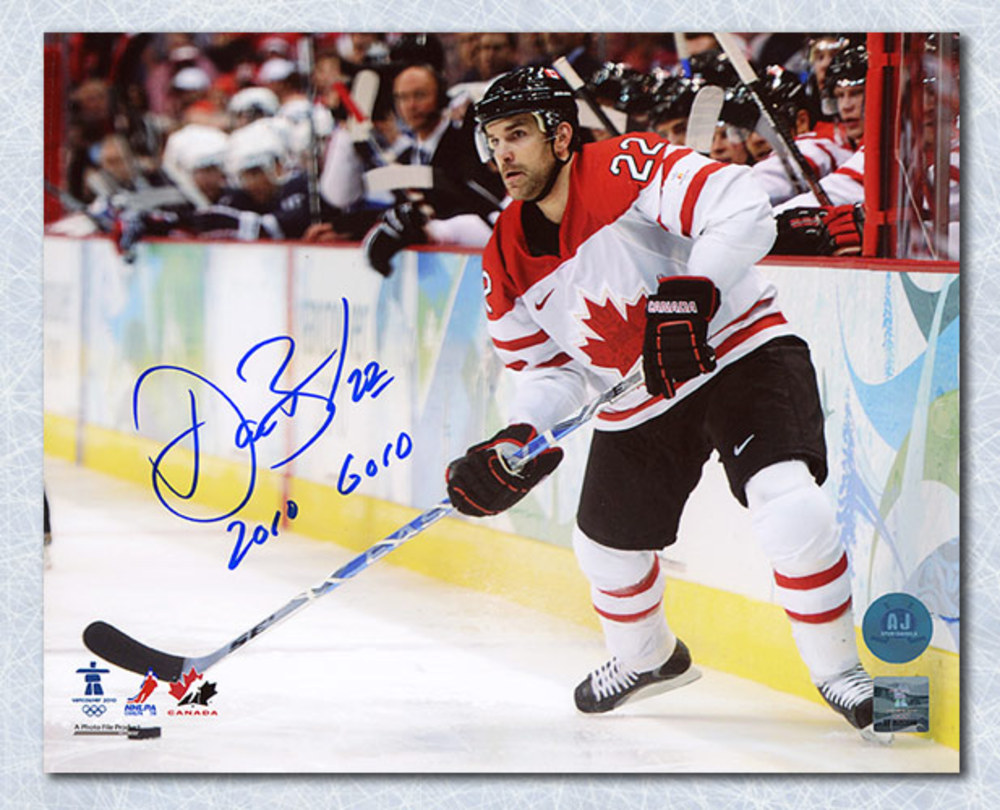 Dan Boyle Team Canada Autographed 2010 Olympic 8x10 Photo w 2010 Gold Note