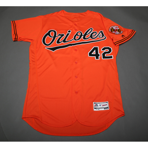 Photo of Zach Britton Autographed, Game-Worn Jackie Robinson Day #42 Jersey