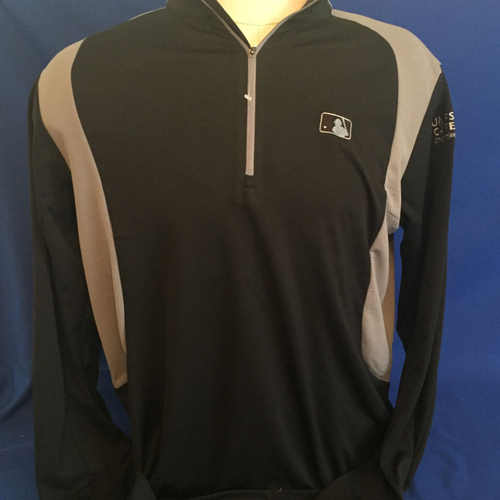 Photo of UMPS CARE AUCTION: MLB/UMPS CARE Logo Antigua Delta Quarter-Zip Pullover, Black with Gray, Size 2XL