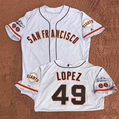 Photo of San Francisco Giants - Game-Used - 2016 Postseason Road Jersey - Javier Lopez #49 - (size 50)