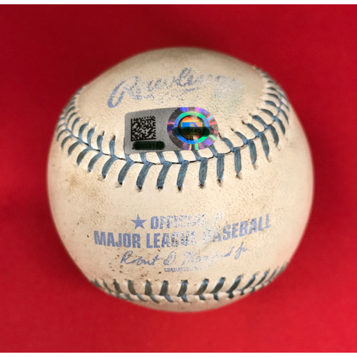 Photo of Bronson Arroyo -- Game-Used Father's Day Baseball-From Arroyo's Final Major League Game of 16-Year Career -- Cody Bellinger (Strikeout), Yasiel Puig (Foul) -- Reds vs. Dodgers on June 18, 2017
