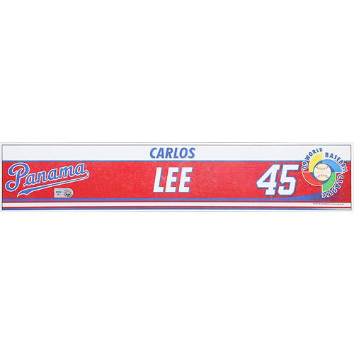 Photo of 2009 World Baseball Classic: Carlos Lee Locker Tag (PAN) Game-Used Locker Name Plate