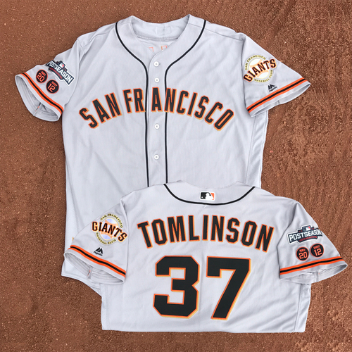Photo of San Francisco Giants - Game-Used - 2016 Postseason Road Jersey - Kelby Tomlinson #37 - (size 46)