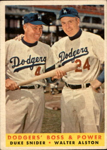 Photo of 1958 Topps #314 Dodgers Boss and Power/Duke Snider/Walt Alston MG