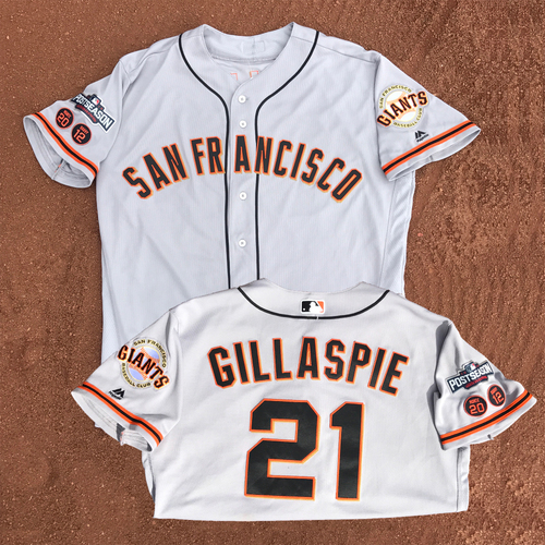 Photo of San Francisco Giants - Game-Used - 2016 Postseason Road Jersey - Conor Gillaspie #21 - (size 46)
