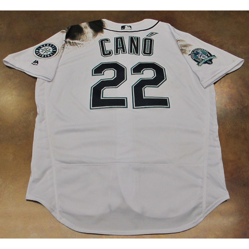 Photo of Robinson Cano White Home Game-Used Jersey With Edgar Martinez Patch Worn 8-12-2017