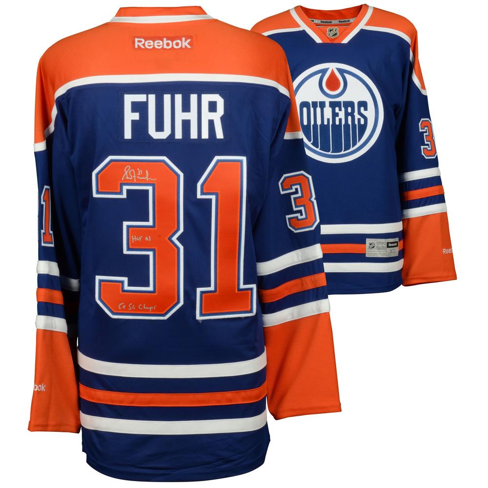 Grant Fuhr Edmonton Oilers Autographed Blue Reebok Jersey with HOF & SC Champs Inscriptions