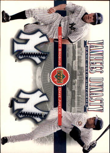 Photo of 2002 Upper Deck Yankee Dynasty Memorabilia #YJBJ Scott Brosius Jsy/David Justice Away Jersey