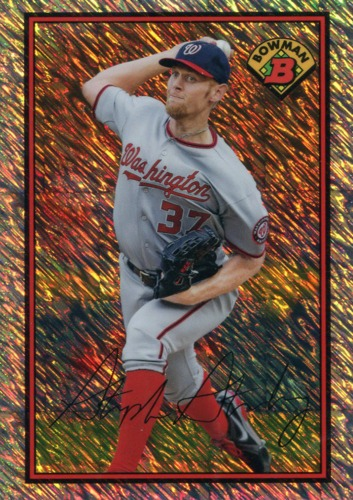 Photo of 2014 Bowman '89 Bowman Is Back Silver Diamond Refractors Shimmer Stephen Strasburg BC 5/10