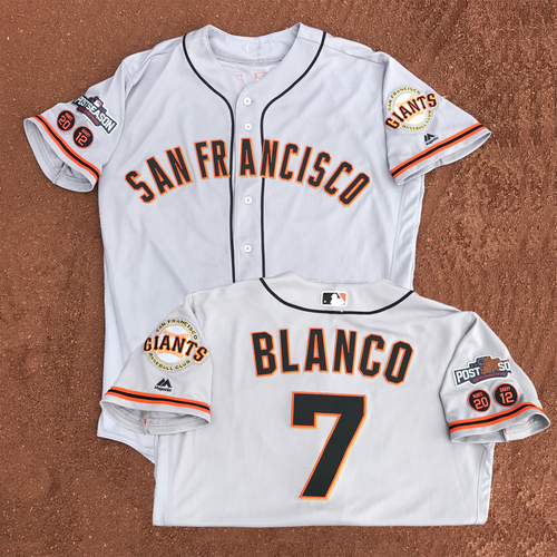 Photo of San Francisco Giants - Game-Used - 2016 Postseason Road Jersey - Gregor Blanco #7 - (size 44)